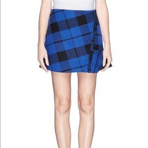 Sandro blue and black twill skirt